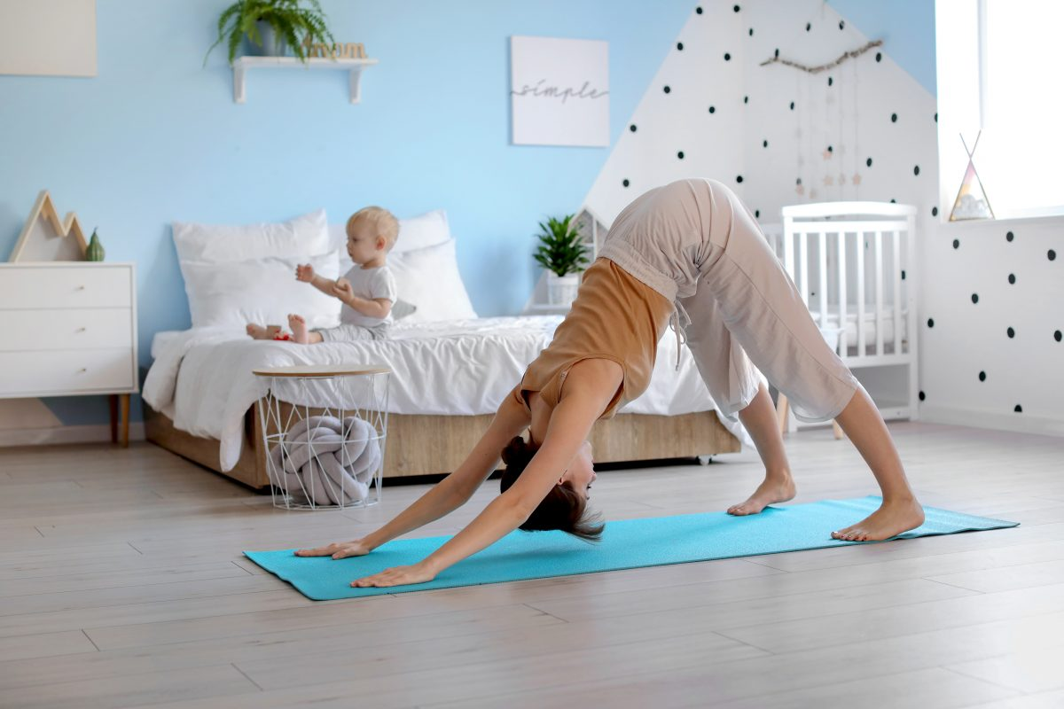 A Women doing Yoga at home
